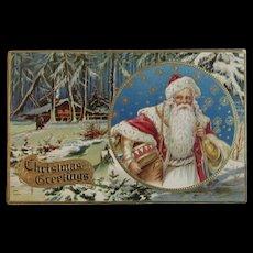 Santa Postcard HSV Litho Co Embossed Christmas Greetings