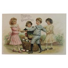 ASB German Embossed Easter Postcard Children Ring Around the Rosy Hen on Nest & Eggs