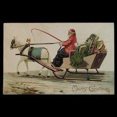 1910 German Santa with Horse and Sleigh Embossed Postcard EAS