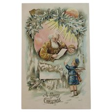 German Gold Robe Santa with Angel Embossed Postcard