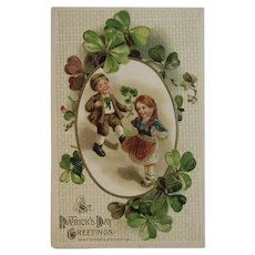 1914 Winsch St. Patrick's Day Embossed Postcard Irish Children and Shamrocks Unused