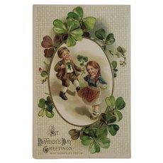1914 Winsch St. Patrick's Day Embossed Postcard Irish Children and Shamrocks Unused