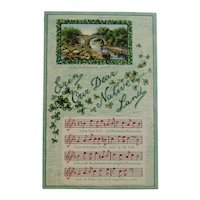 1910 German St. Patrick's Day Embossed Postcard with Music and Song Lyrics for Erin Our Dear Native Land Ireland Irish