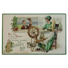 1916 Tuck Lady at Spinning Wheel Embossed St. Patrick's Day Postcard