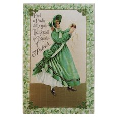1909 German St. Patrick's Day Embossed Postcard Irish Lady in Green Dress