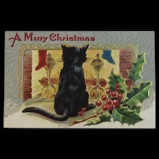 Christmas Black Cat at the Fireplace Postcard Embossed Unused