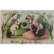 1913 Easter Postcard Girl Shows Bunny Her Chick Gottschalk Dreyfuss and Davis Embossed Germany