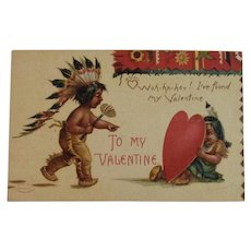 Signed Clapsaddle Valentine's Day Postcard Native American Indians International Art Publishing Co IAP Germany German Unused