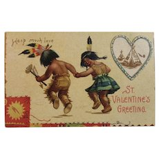 Signed Clapsaddle Valentine's Day Postcard Native American Indian Children International Art Publishing Co IAP Germany German Unused Embossed