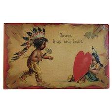 German Clapsaddle Valentine's Day Postcard Embossed with Native American Indian Children