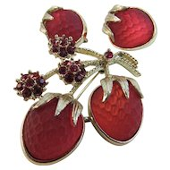 Sarah Coventry Strawberry Festival Pin and Clip Earrings Set Frosted Red Satin Glass Faceted Strawberries