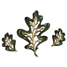 Sarah Coventry Enchanted Forest Enamel Leaf Pin and Earrings Set Brooch Enameled