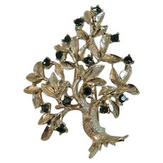 Dodds Signed Tree Pin Brooch with Green Rhinestones