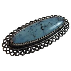 Vintage Beau Sterling Silver Oval Pin with Blue Turquoise Look Glass Stone