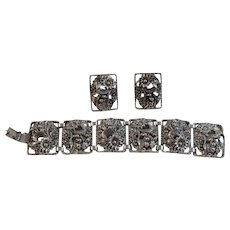 Sarah Coventry Chunky Bracelet and Clip Earrings Set Floral Flowers Daisies Silver Tone