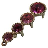Sarah Coventry Pink Rhinestone Graduated Bar Pin Brooch