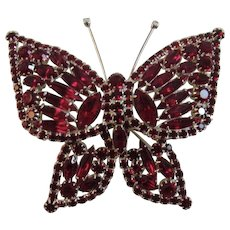 Huge Butterfly Pin with Red Rhinestones in Silver Tone