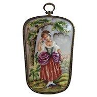 Porcelain Lady Plaque in Brass Frame