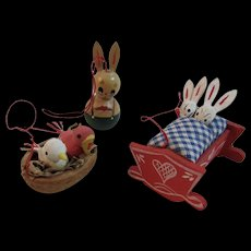3 Miniature Wood Easter Ornaments Walnut Shell Birds Nest Bunnies in Bed Bunny