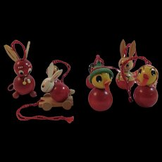 7 Miniature Easter Bunny and Chick Wood Ornaments