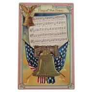 Flag of the Free Song Lyrics Music Patriotic Postcard Embossed American Flag