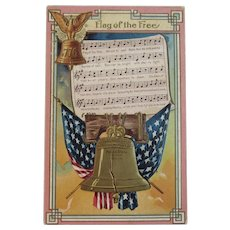 Flag of the Free Song Lyrics Music Patriotic Postcard Embossed American Flag