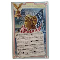 1909 Columbia the Gem of the Ocean Patriotic Music and Song Lyrics Embossed Postcard E. Nash