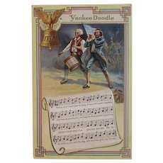 Yankee Doodle Song Lyrics and Music Patriotic Embossed Postcard with Revolutionary War Fife and Drum Players Soldiers