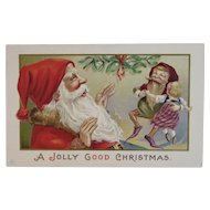 Santa and Dancing Elf with Doll Embossed Postcard by JEP Gnome