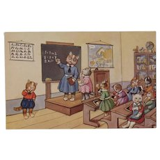 German Dressed Cats in the School Room with Teacher Postcard by SSS Unused
