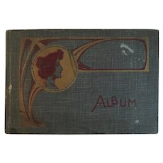 Art Nouveau Postcard Album Empty With Lady on Cover