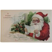 1916 Santa Reading Letters from Children Postcard by J.P. Embossed