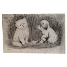 1909 Colby Cat and Puppy Dog Postcard Unused