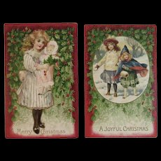 German Christmas Postcards Girl with Doll and Girls with Snowball in the Snow Embossed Germany Edwardian Era