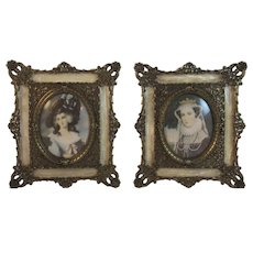 Pair Metal Filigree Frames with Celluloid Faux MOP Embellishment and Miniature Prints of Paintings of Queens by Masters - Red Tag Sale Item