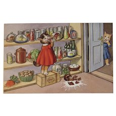 German Dressed Cats in the Pantry Eating Jam and Spilling Milk Postcard by SSS Unused