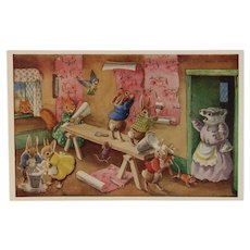 Racey Helps Dressed Rabbits Postcard The Paperhangers Hanging Wallpaper Unused Medici Society