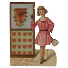 German Mechanical Valentine Girl at Phone with Tennis Racket Heart