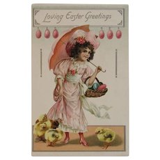Tuck Easter Postcard Girl in Pink with Parasol Basket Full of Eggs and Chicks Embossed Tuck's