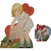 2 Vintage Cat Valentines Cards