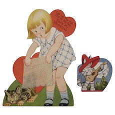 2 Vintage Cat Valentines Cards