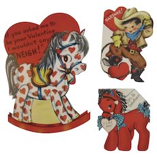 3 Vintage Cowboy Pony Rocking Horse Valentines Cards One Mechanical