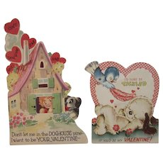 2 Mechanical Dog Valentines Doghouse and Bird Heart