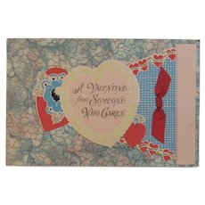 Vintage Valentine Card Marbled Textured Paper with Hearts and Red Ribbon by Carrington
