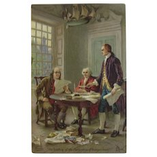 Dr. Jayne's Drafting of the Declaration of Independence Advertising Trade Card Family Medicine Products Artist Signed Litho 1909