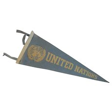 Felt United Nations Pennant Vintage in Blue and White