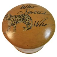 Mauchline Ware Sweetheart Trinket Box with Leopard on Top Who Spotted Who from Theodora