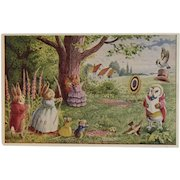 Racey Helps Dressed Rabbits Postcard A Poor Shot Unused Medici Society Owl Mice and Birds