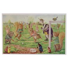 Racey Helps Dressed Rabbits Postcard The Hockey Match Unused Medici Society Porcupine Skunk Mice and Birds