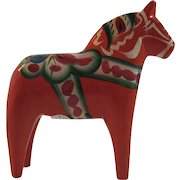 Nils Olsson Swedish Dala Horse Hand Carved Wood Painted Folk Art Vintage